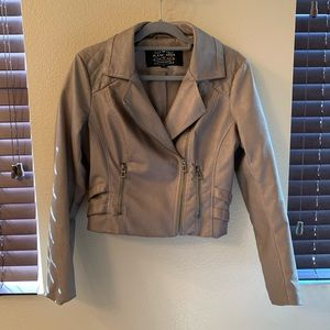 Taupe Faux leather fitted jacket
